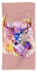 Hand Towel featuring the mixed media Buck by Marian Voicu