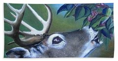 Hand Towel featuring the painting Buck by Mary Ellen Frazee