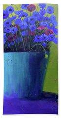 Bucket Of Blue Bath Towel by Nancy Jolley