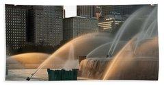 Buckingham Fountain Sidelight  Hand Towel by Steve Gadomski