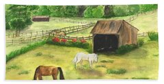 Bath Towel featuring the painting Bucks County Horse Farm by Lucia Grilletto
