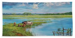 Hand Towel featuring the painting Bucolic St. John's by AnnaJo Vahle