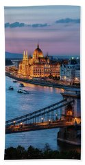 Budapest City At Dusk Hand Towel