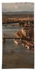 Budapest In The Morning Sun Bath Towel by Jaroslaw Blaminsky