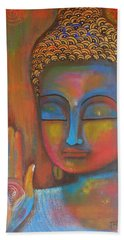 Bath Towel featuring the painting Buddha Blessings by Prerna Poojara