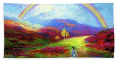 Hand Towel featuring the painting Buddha Chakra Rainbow Meditation by Jane Small