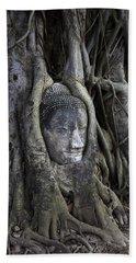 Buddha Head In Tree Hand Towel by Adrian Evans