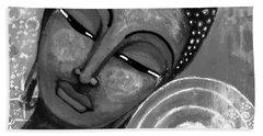 Bath Towel featuring the mixed media Buddha In Grey Tones by Prerna Poojara
