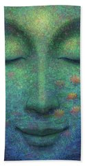 Hand Towel featuring the painting Buddha Smile by Sue Halstenberg