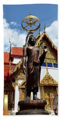 Buddha Statue With Sunshade Outside Temple Hat Yai Thailand Bath Towel