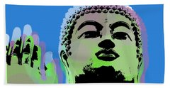 Hand Towel featuring the digital art Buddha Warhol Style by Jean luc Comperat