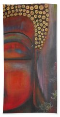 Bath Towel featuring the painting Buddha With Floating Lotuses by Prerna Poojara