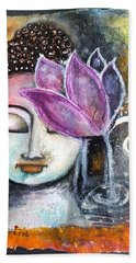 Bath Towel featuring the mixed media Buddha With Torn Edge Paper Look by Prerna Poojara