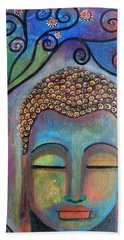 Bath Towel featuring the painting Buddha With Tree Of Life by Prerna Poojara