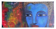 Bath Towel featuring the painting Buddha Within A Circular Background by Prerna Poojara