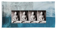 Buddhas In Blue- Contemporary Art By Linda Woods. Hand Towel