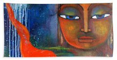 Bath Towel featuring the painting Buddhas Robe Reaching For The Moon by Prerna Poojara