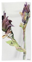 Budding Irises Bath Towel