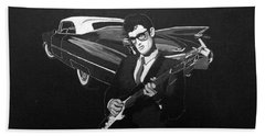 Buddy Holly And 1959 Cadillac Bath Towel