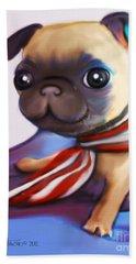 Buddy The Pug Hand Towel by Catia Cho