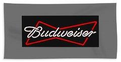 Budweiser T-shirt Hand Towel by Herb Strobino