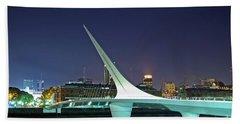 Buenos Aires - Argentina - Puente De La Mujer At Night Hand Towel