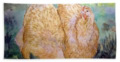 Buff Orpington Hens In The Garden Hand Towel