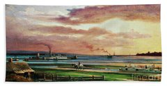Buffalo Harbor From The Foot Of Porter Avenue, 1871 Hand Towel