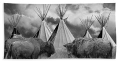 Buffalo Herd Among Teepees Of The Blackfoot Tribe Hand Towel