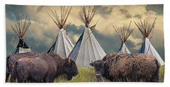 Buffalo Herd On The Reservation Hand Towel