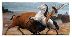 Hand Towel featuring the painting Buffalo Hunt by Tom Roderick