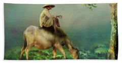 Bath Towel featuring the photograph Buffalo In The Mist by Wallaroo Images