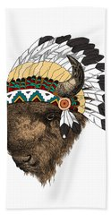Buffalo With Indian Headdress In Color Bath Towel