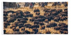 Bath Towel featuring the photograph Buffalo Roundup by Kristal Kraft