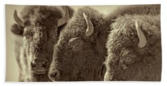 Bath Towel featuring the photograph Trio American Bison Sepia Brown by Jennie Marie Schell