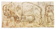 Buffalo Trail  Bath Towel by Larry Campbell