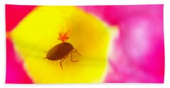 Bath Towel featuring the photograph Bug In Pink And Yellow Flower  by Ben and Raisa Gertsberg