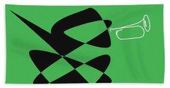 Hand Towel featuring the digital art Bugle In Green by David Bridburg