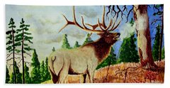 Bugling Elk Hand Towel by Jimmy Smith