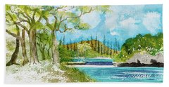 Bugny Trees At Kanumera Bay, Ile Des Pins Hand Towel