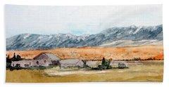 Buildings On A Colorado Ranch With Mountain Landscape Bath Towel by R Kyllo