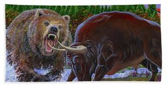Bull And Bear Hand Towel by Carey Chen
