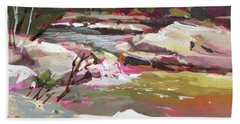 Hand Towel featuring the painting Bull Creek 1 by Rae Andrews