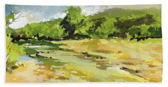 Hand Towel featuring the painting Bull Creek 3 by Rae Andrews