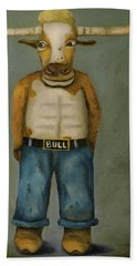 Hand Towel featuring the painting Bull Denim by Leah Saulnier The Painting Maniac