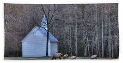 Bull Elk Attending Palmer Chapel  In The Great Smoky Mountains National Park Bath Towel