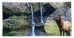 Bull Elk By A Waterfall Bath Towel