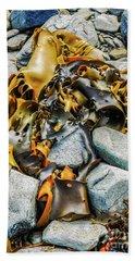 Bull Kelp On Blue Rocks Hand Towel by Lexa Harpell