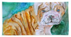 Hand Towel featuring the painting Bulldog Cub  - Watercolor Portrait by Fabrizio Cassetta