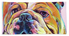 Bath Towel featuring the painting Bulldog Love by Robert Phelps